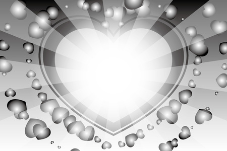 black and white heart with rays background Vector illustration. Иллюстрация