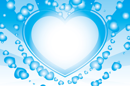 blue and white heart with rays background Vector illustration.