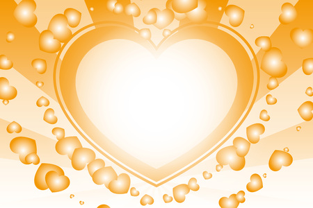 orange heart background with rays Vector illustration.