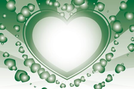 green and white heart with rays background Vector illustration.  イラスト・ベクター素材