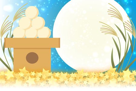 Japanese style background material, moon view, full moon, autumn, full moon, Japanese traditional events, Susuki, moonlit night, Mid autumn Moon, Kaguya Hime, Takebashi Monogatari Ilustração