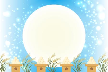 Matériel de fond de style japonais, vue sur la lune, pleine lune, automne, pleine lune, événements traditionnels japonais, Susuki, nuit au clair de lune, mi-automne lune, Kaguya Hime, Takebashi Monogatari