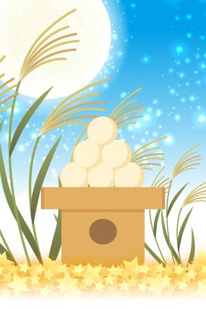 Japanese style background material, moon view, full moon, autumn, full moon, Japanese traditional events, Susuki, moonlit night, Mid autumn Moon, Kaguya Hime, Takebashi Monogatari Illustration