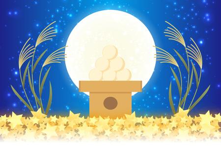 Japanese style background material, moon view, full moon, autumn, full moon, Japanese traditional events, Susuki, moonlit night, Mid autumn Moon, Kaguya Hime, Takebashi Monogatari Ilustracja