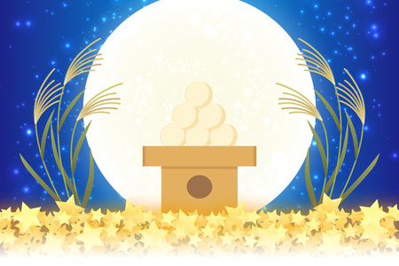 Japanese style background material, moon view, full moon, autumn, full moon, Japanese traditional events, Susuki, moonlit night, Mid autumn Moon, Kaguya Hime, Takebashi Monogatari Çizim