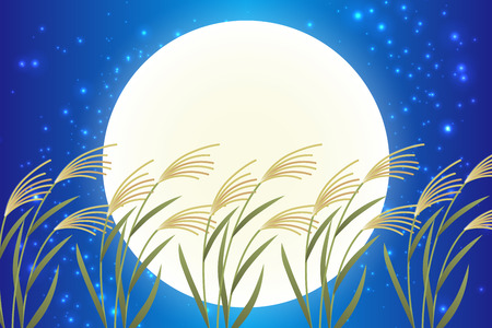 Japanese style background material, moon view, full moon, autumn, full moon, Japanese traditional events, Susuki, moonlit night, Mid autumn Moon, Kaguya Hime, Takebashi Monogatari 矢量图像