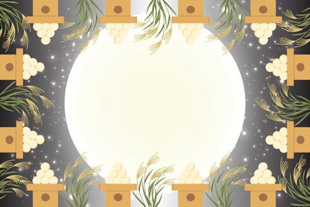 Matériel de fond de style japonais, vue sur la lune, pleine lune, automne, pleine lune, événements traditionnels japonais, Susuki, nuit au clair de lune, lune de mi-automne, Kaguya Hime, Takebashi Monogatari