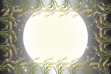Japanese style background material, moon view, full moon, autumn, full moon, Japanese traditional events, Susuki, moonlit night, Mid autumn Moon, Kaguya Hime, Takebashi Monogatari Ilustração