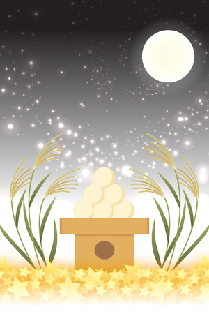 Japanese style background material, moon view, full moon, autumn, full moon, Japanese traditional events, Susuki, moonlit night, Mid autumn Moon, Kaguya Hime, Takebashi Monogatari