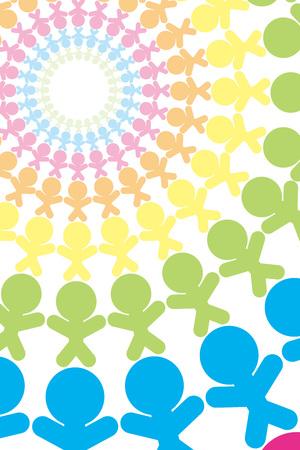 Background material, image, circle of people, teamwork, companion, community, group, communication, friend, Ilustracja