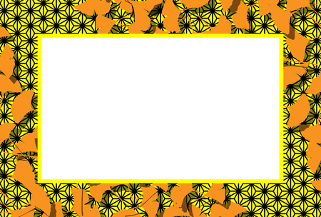 Japanese-style background material, photo frame, autumn landscape, Ginkgo leaves, copy space, leaves, leaves, autumn leaves, traditional patterns, Ginkgo biloba,