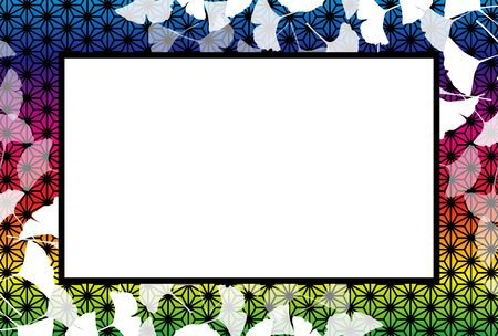 Japanese-style background material, photo frame, autumn landscape, Ginkgo leaves, copy space, leaves, leaves, foliage, traditional patterns, Ginkgo biloba, change the title