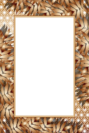 Background material, bamboo leaves, summer, picture frames, copy space, Japanese-style, traditional patterns, picture frames, hemp leaf pattern, Oriental culture,  イラスト・ベクター素材