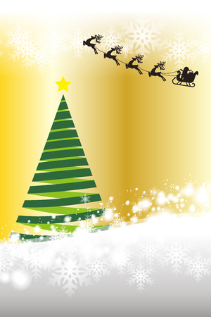 Background material, tree, White Christmas, Santa Claus sleigh, snow crystals, winter events, Merry Christmas  イラスト・ベクター素材