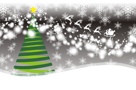 Background material, tree, White Christmas, Santa Claus sleigh, snow crystals, winter events, Merry Christmas Stock Illustratie