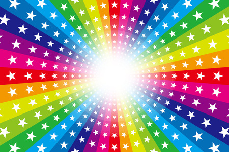 Background material, Rainbow, Rainbow, glitter star, Star, radial, party, entertainment, happy, Ilustração