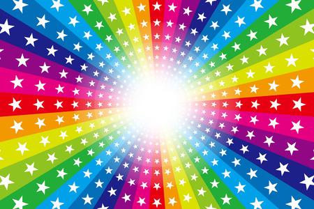 Background material, Rainbow, Rainbow, glitter star, Star, radial, party, entertainment, happy, Illustration