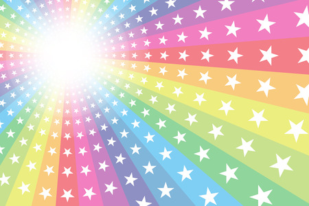 Background material, Rainbow, Rainbow, glitter star, Star, radial, party, entertainment, happy, Ilustracja