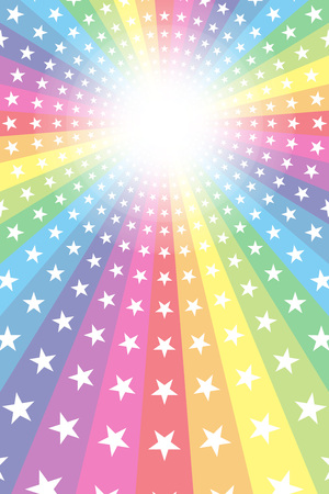 Background material, Rainbow, Rainbow, glitter star, Star, radial, party, entertainment, happy,  イラスト・ベクター素材
