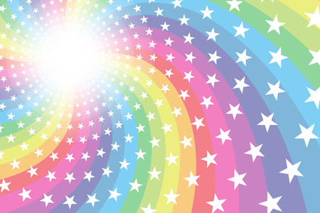 Background material, Rainbow, Rainbow, glitter stars, spirals, radial, party, entertainment, happy,