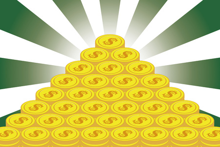 Money making, treasure, lottery, winning, gold coin, financial business image, currency, radiation, concentration line, do Llar, United States, foreign exchange transaction,