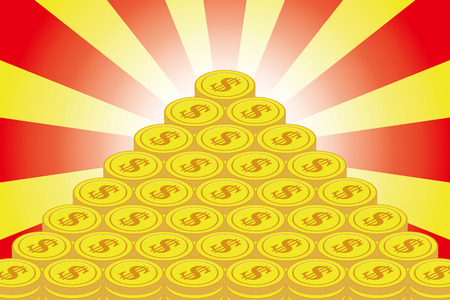 Money making, treasure, lottery, winning, gold coin, financial business image, currency, radiation, concentration line, do Llar, United States, foreign exchange transaction, Illustration
