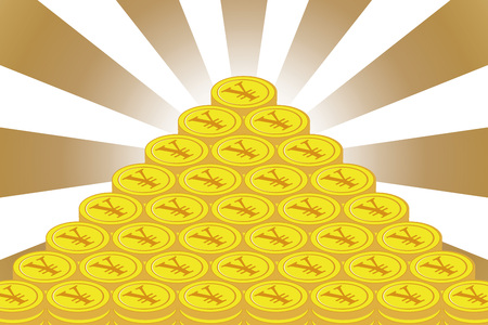 Money making, sideline, savings, financial business image, currency, rich, radiation, yen, Japanese yen, Japan, how to Sav E Money  イラスト・ベクター素材