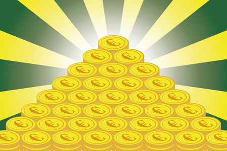 Money making, European currency, treasure, gold coin, financial business image, radiation, concentration line, coin, euro, European, exchange