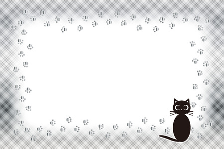 Background material, picture frame, photograph frame, cat, footprint, meat ball, pet, plaid, name tag, tags, animal, picture frame Vetores