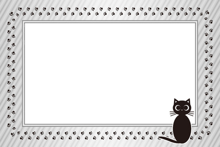 Background material, picture frame, photograph frame, cat, footprint, meat ball, pet, plaid, name tag, tags, animal, picture frame