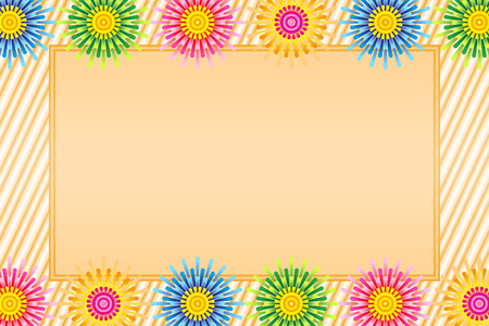 Illustration background, hot weather, summer, fireworks only last, fireworks, message space, free material, postcard template Ilustração