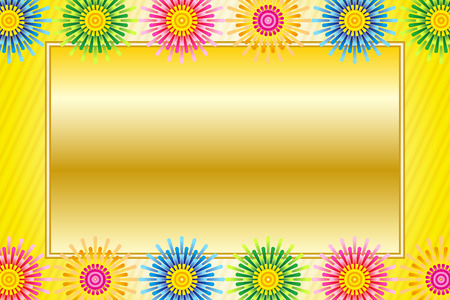 Illustration background, hot weather, summer, fireworks only last, fireworks, message space, free material, postcard template  イラスト・ベクター素材