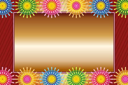Illustration background, hot weather, summer, fireworks only last, fireworks, message space, free material, postcard template Illustration