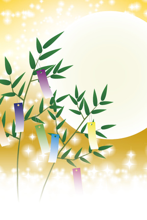 Tanabata, Tanabata ornament, starry Sky, Tanabata Festival, bamboo decoration, background, vector, illustration, tanabata image, strip, night sky, bamboo grass, bamboo leaf, ornament, Milky Way, festival, Illustration