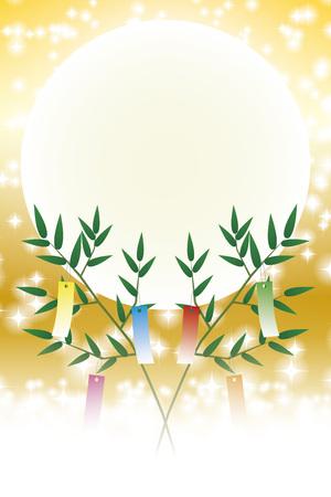 Tanabata, Tanabata ornament, starry Sky, Tanabata Festival, bamboo decoration, background, vector, illustration, tanabata image, strip, night sky, bamboo grass, bamboo leaf, ornament, Milky Way, festival, Illustration