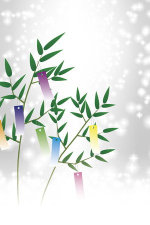 Tanabata, Tanabata ornament, starry Sky, Tanabata Festival, bamboo decoration, background, vector, illustration, tanabata image, strip, night sky, bamboo grass, bamboo leaf, ornament, Milky Way, festival, Stock Illustratie