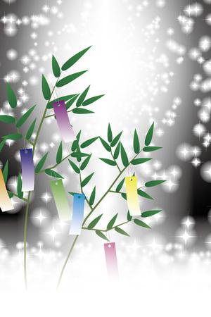 Tanabata, Tanabata ornament, starry Sky, Tanabata Festival, bamboo decoration, background, vector, illustration, tanabata image, strip, night sky, bamboo grass, bamboo leaf, ornament, Milky Way, festival,
