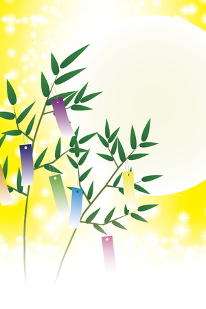 Japanese style material, Tanabata Festival, tradition, strip, bamboo ornament, summer, Milky Way, starry sky, glitter, July, illustration, free, night sky, background
