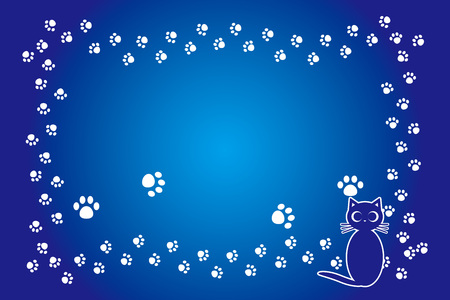 Background illustration material, cat footprint, meat ball, kitten, animal, frame, message, title, space, free, pop