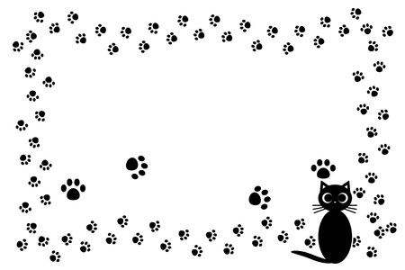 Background material, cat footprint, meat ball, kitten, animal, cute, illustration, animal Hospital, Pet shop, advertising, free material  イラスト・ベクター素材