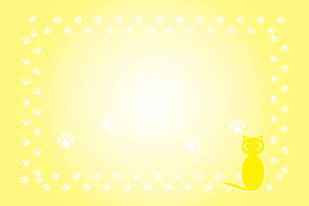 Background illustration, cat footprint, meat ball, cute, pet shop, advertising, free material, frame, copy space  イラスト・ベクター素材