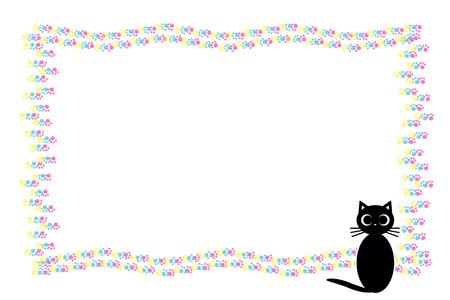 Background material, cat footprint, meat ball, cat, animal, cute, illustration, animal Hospital, Pet shop, advertising, flyer