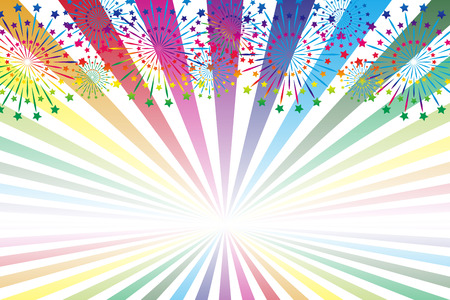 Illustration background, fireworks only last, festival, poster, free size, free material, concentrating lines, radiation, cartoon expressions, summer traditions,