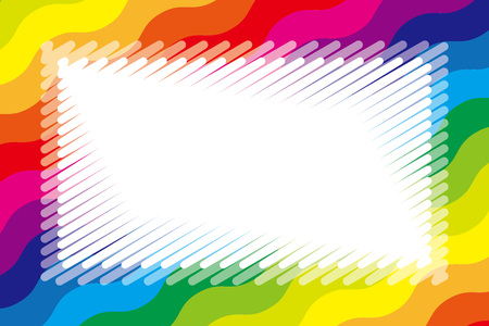 Colorful illustration background material, rainbow, copy space, name tag, price tag, kids, wave, jagged pattern, graffiti style Stock Vector - 124885887