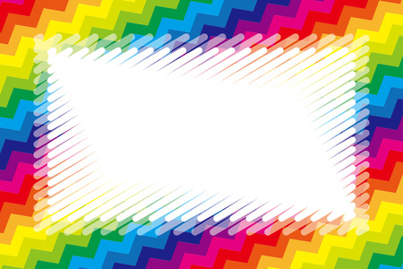 Illustration background wallpaper, rainbow color, copy space, wave, frame, jagged pattern, kids, free material,