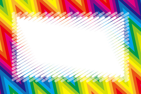 Illustration background wallpaper, rainbow color, copy space, wave, frame, jagged pattern, kids, free material, Stock Vector - 124885922