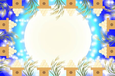 Illustration, Japanese-style background material, Tsukimi, 15 nights, autumn, full moon, Japanese traditional events, Susuki, Moonlight, Mid-Autumn Moon, Kaguya Hime, Taketoki Monogatari