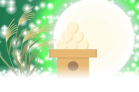 Japanese-style background material, full moon, full moon, autumn, moon, Japan's traditional event, Susukino, moon, moon, Moon Princess, bamboo takes stories