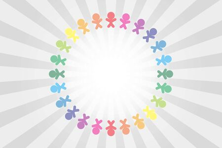background material, illustration, copy space, circle of people, friends, good friends, family, hand in hand, free, free size, cooperation