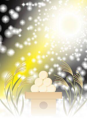 Background Illustration, Tsukimi Dumplings, Suki, Full Moon, Party, Free Size, Poster, Copy Space Иллюстрация